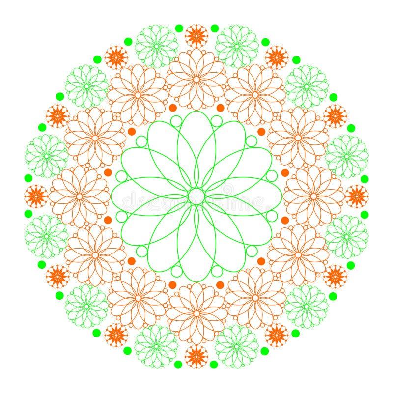 Mandala of flowers in orange and green on white stock illustration
