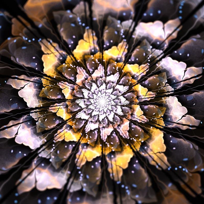 Mandala Fractal Flower terrosa immagini stock