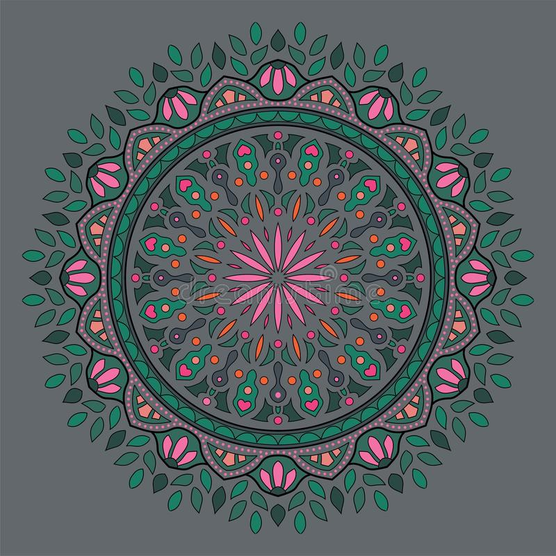 Mandala frondosa indiana colorata immagine stock libera da diritti