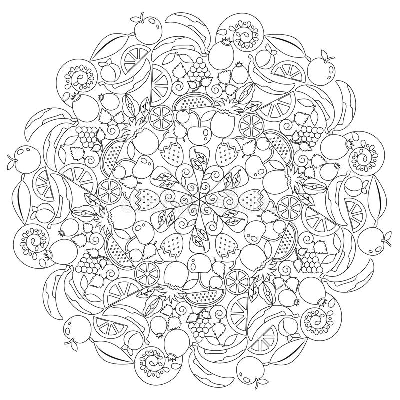 Mandala of fruits. Mandala formed by fruits, leaves and spirals. Fruits such as Apples and bananas. Also for cherries, watermelons, oranges and lemons. Figures royalty free illustration