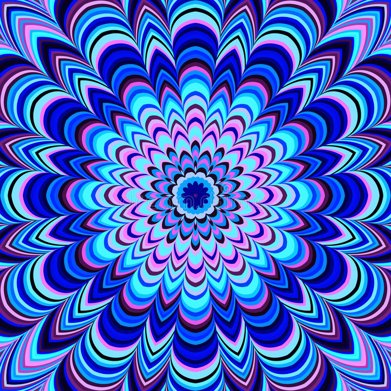 Mandala géométrique bleu au néon, trame images libres de droits