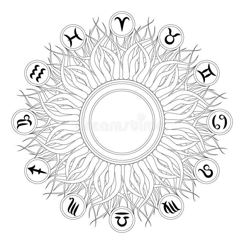 Mandala géométrique rond noir et blanc de vecteur avec douze symboles de zodiaque - page adulte de livre de coloriage - exposez a illustration de vecteur