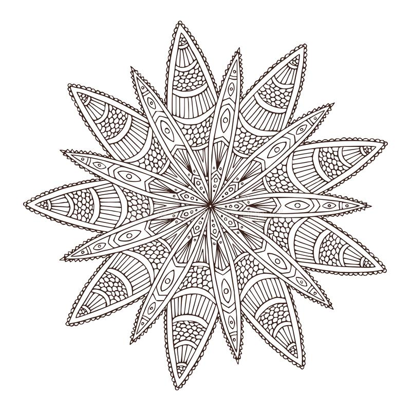 Mandala geométrica decorativa Projeto da arte da tatuagem da flor Teste padrão do ornamento do tapete Vetor para a página adulta  ilustração do vetor
