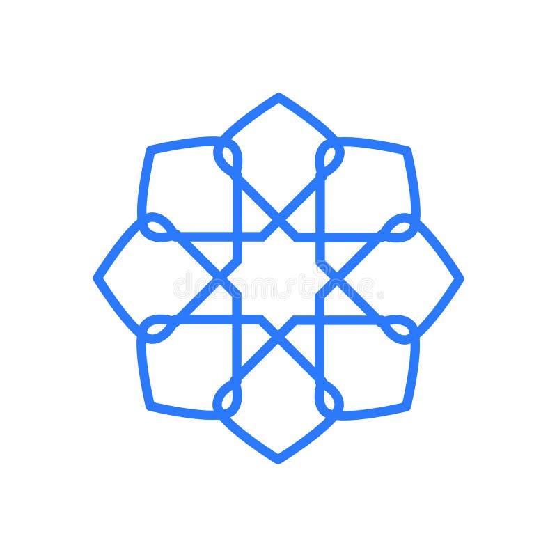 Mandala Geometric Blue Octagon Symbol-Illustratie Grafisch Ontwerp stock illustratie