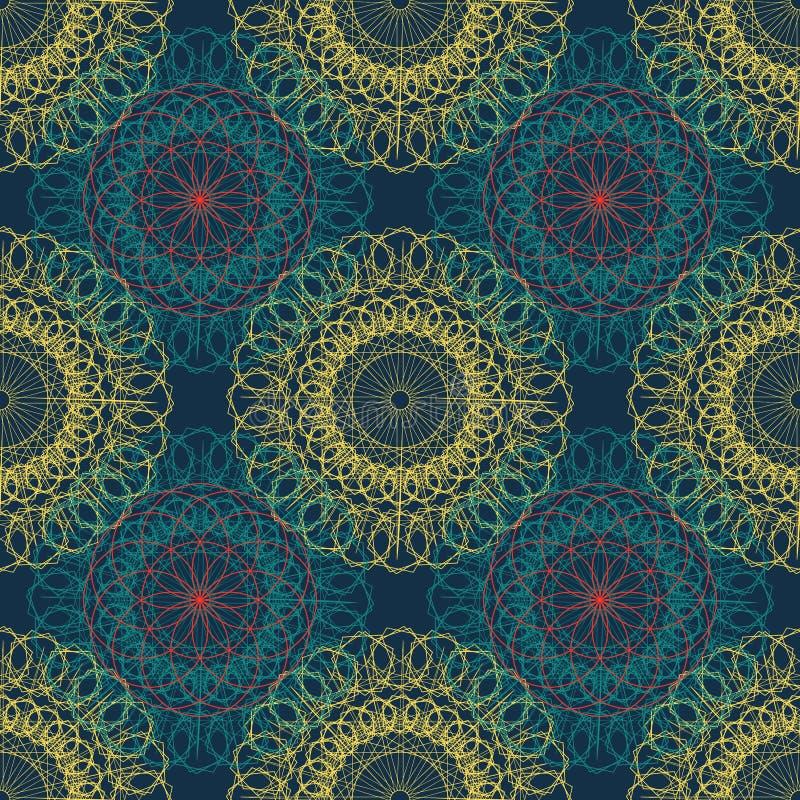 Mandala geometrii bezszwowy antyczny wzór Złota round ornament dekoracja kreskowa sztuka kwiat z stylizowanym Chakra symbolem dla ilustracji
