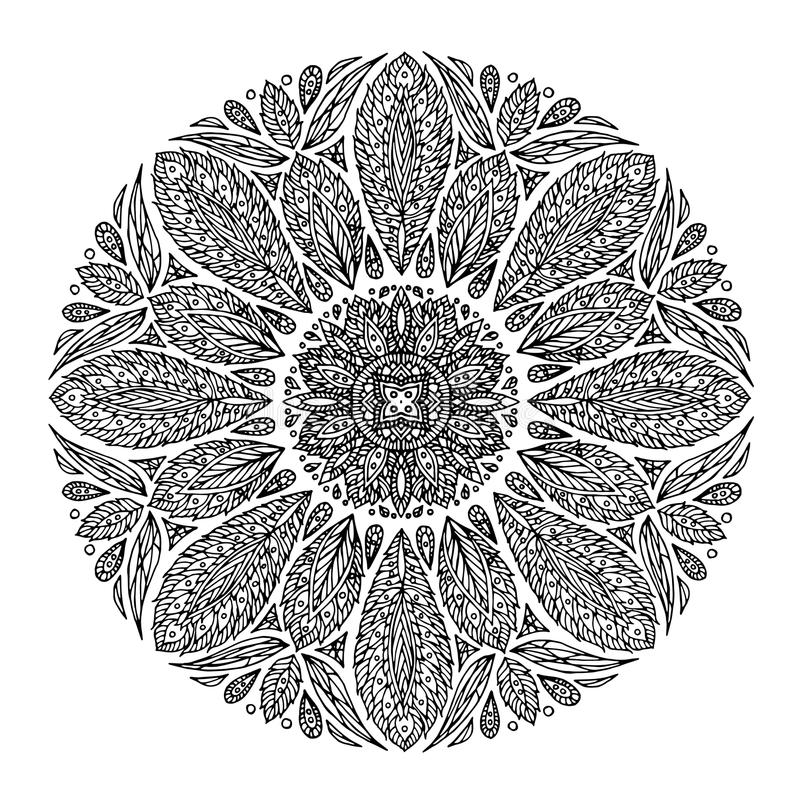 Mandala, geometryczny deseniowy symbol wszechświat, chakra joga medytacja royalty ilustracja