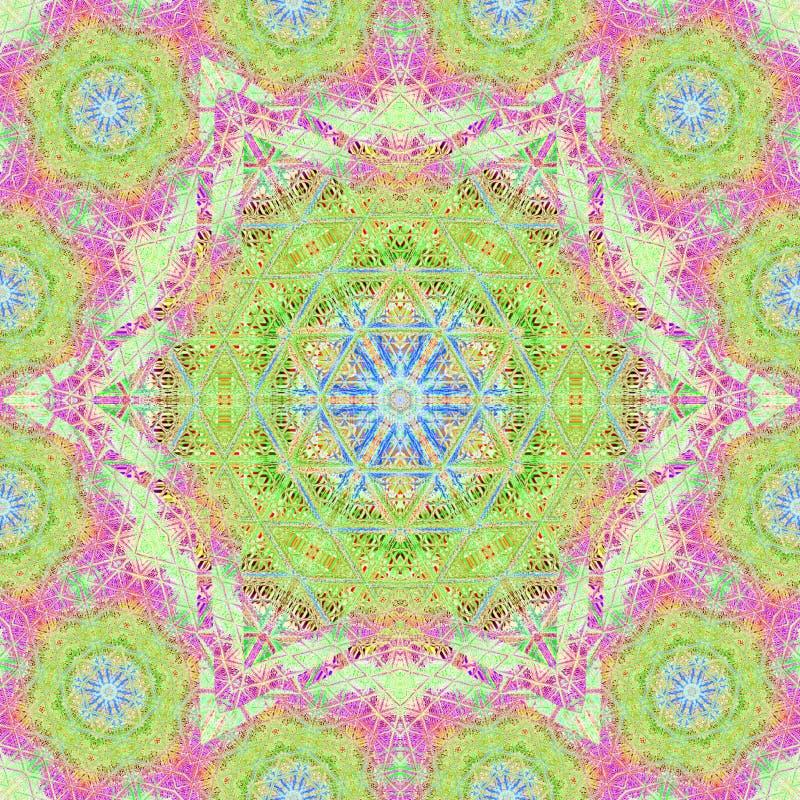 Mandala, geometryczny szyldowy symbol wszechświat, chakra joga royalty ilustracja