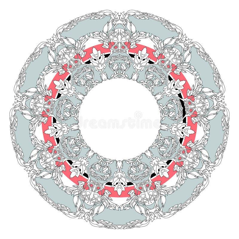 Mandala gevormde de contouren aangegeven van takken, bloemen, bladeren en bloemen et vector illustratie