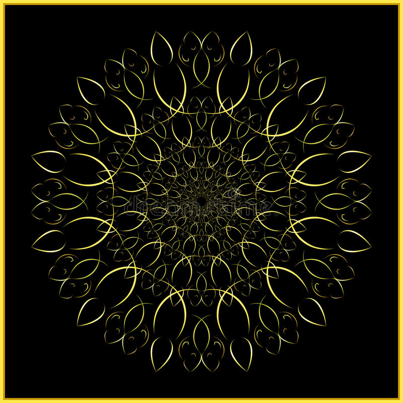 Mandala - golden ornament - arabesque. This circular ornament is based on our long term study of sacred geometry - an artistic application of golden ratio vector illustration