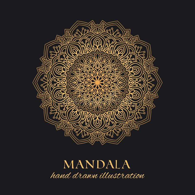 Mandala vector round ornament luxury design. Golden ethnic element. On black background. Hand drawn template for prints and decor royalty free illustration