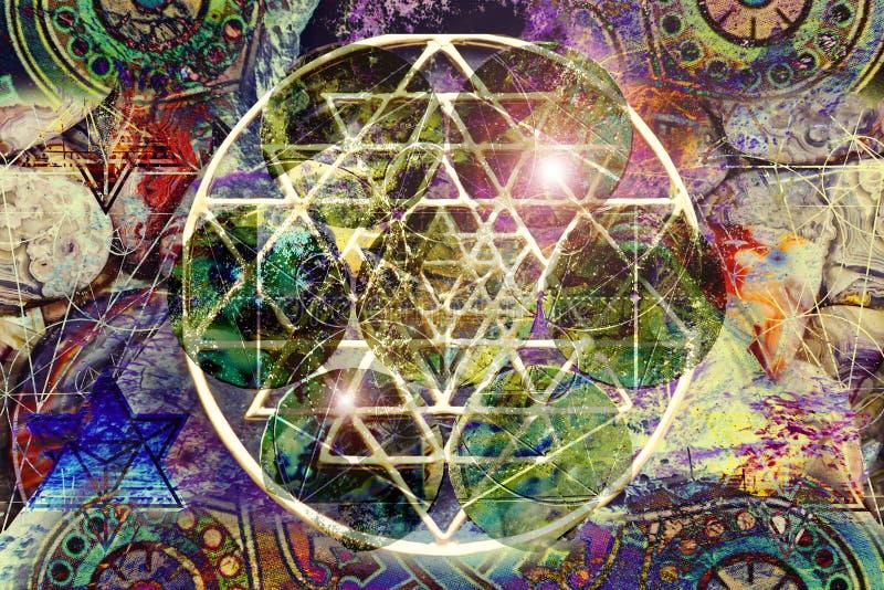 Mandala gráfica de la geometría sagrada colorida del extracto fotos de archivo