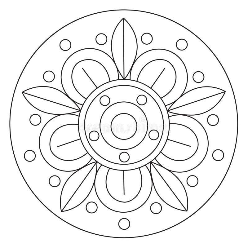 Mandala grande di coloritura del fiore illustrazione vettoriale
