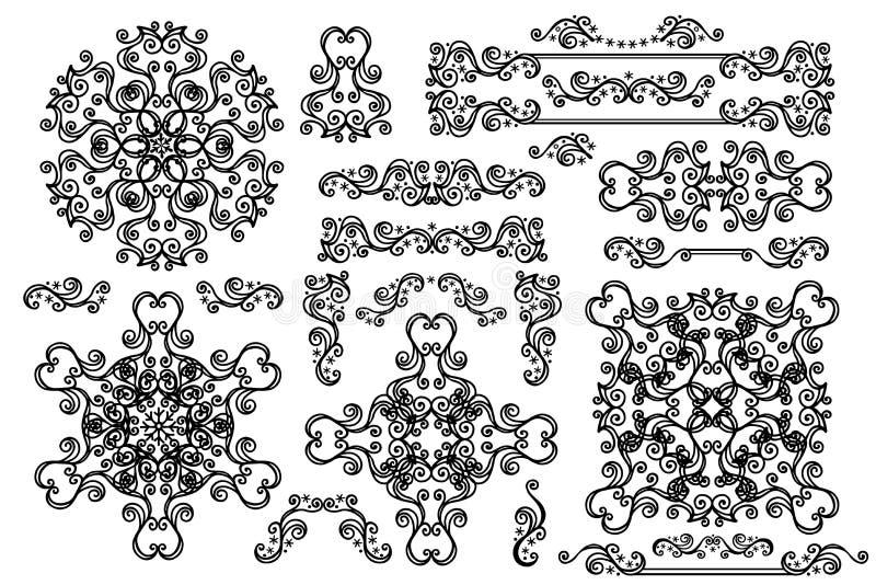 Mandala, Grens, kaderreeks Het decor van de winterkrabbels stock illustratie