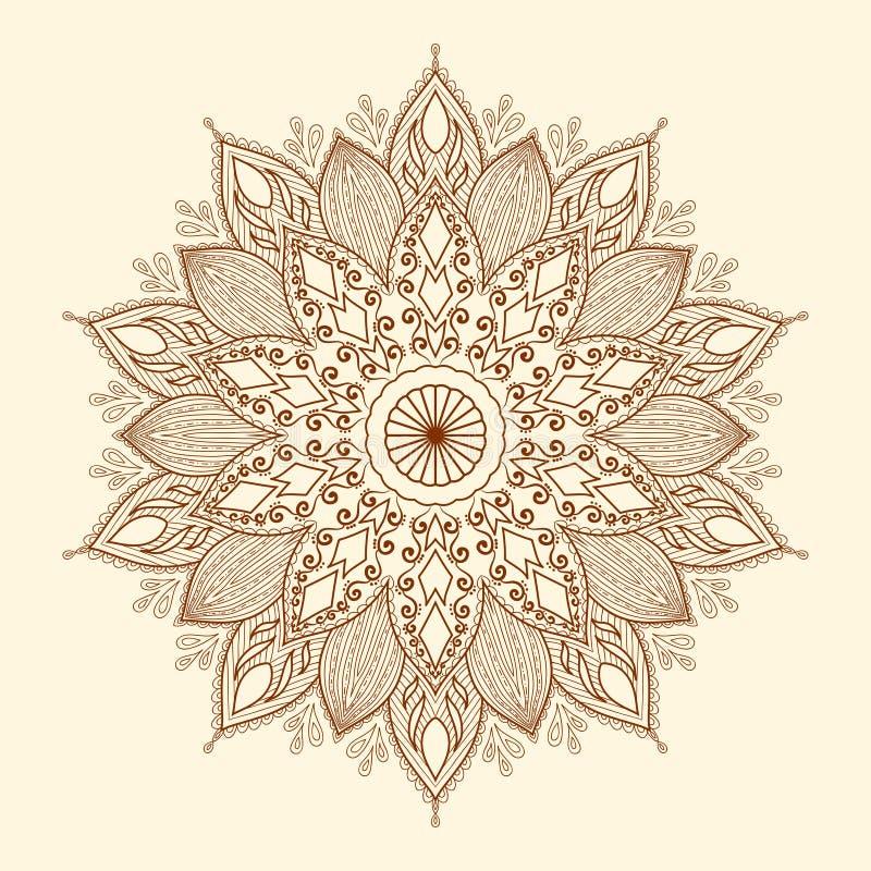 Mandala. Härlig hand-dragen blomma.