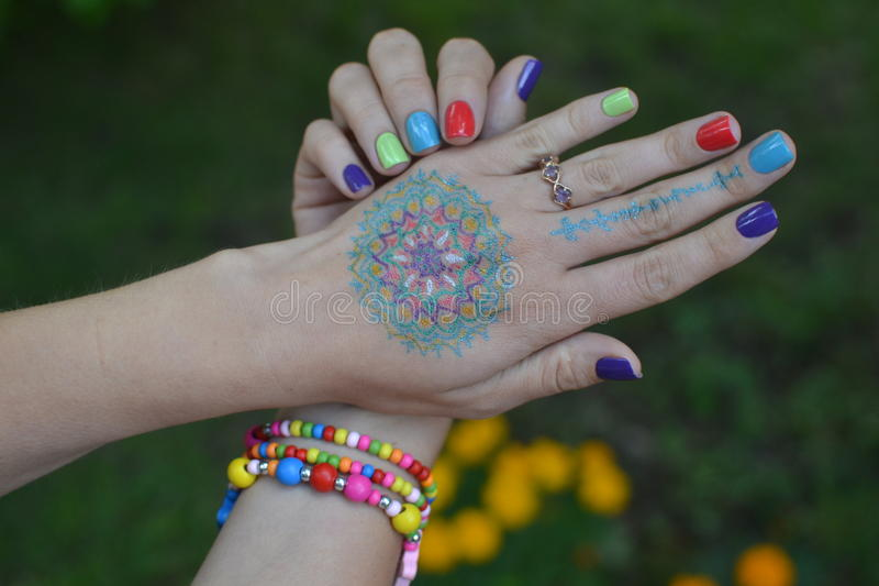 Mandala hands royalty free stock photography
