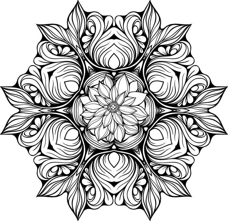 Mandala hecha de elementos florales stock de ilustración