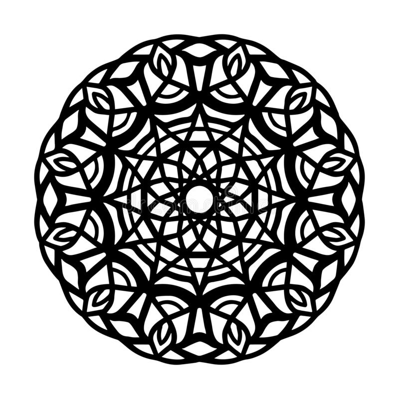 Mandala for Henna, Mehndi, tattoo, decoration. Decorative frame ornament in ethnic oriental style. Coloring book page royalty free illustration