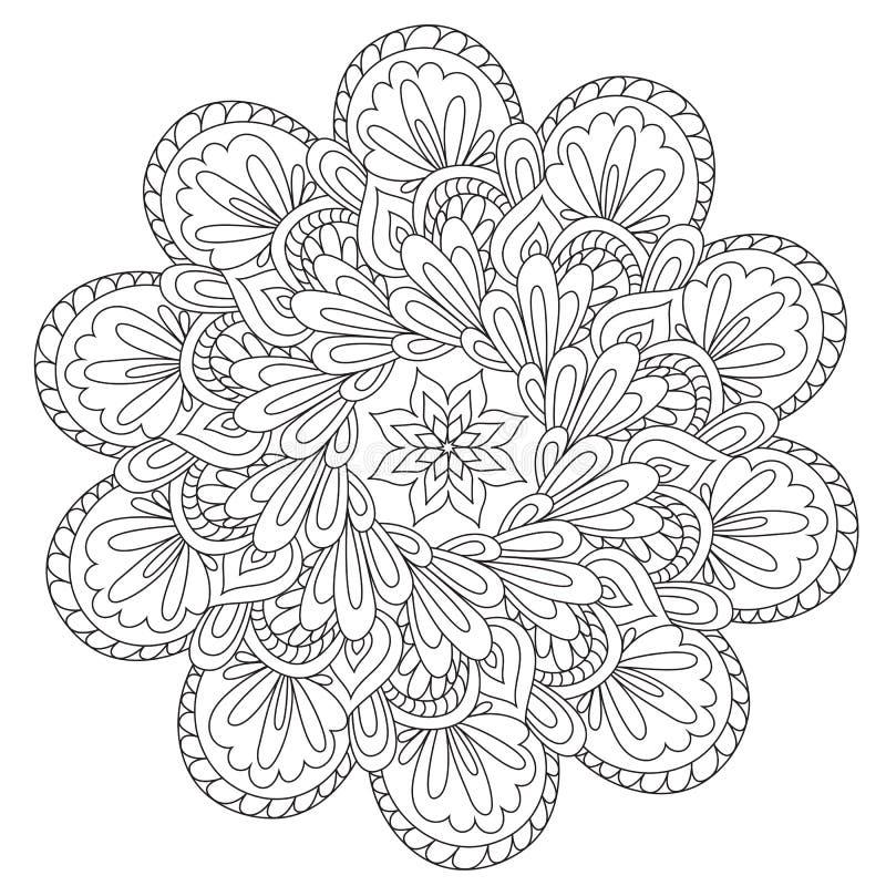 Mandala hermosa de la abstracción que colorea ilustración del vector