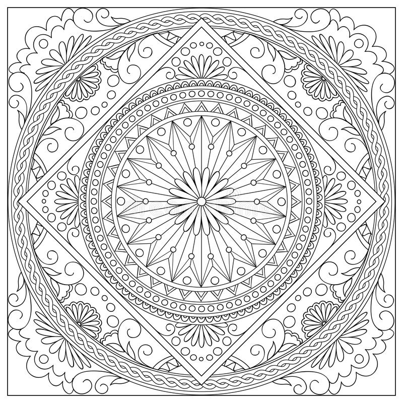 Mandala in i fyrkanten royaltyfri illustrationer