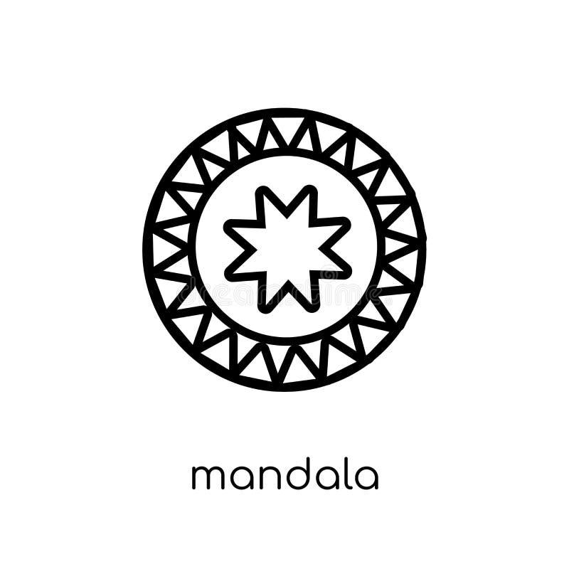 Mandala Icon Modische moderne flache lineare Vektor Mandalaikone auf w vektor abbildung