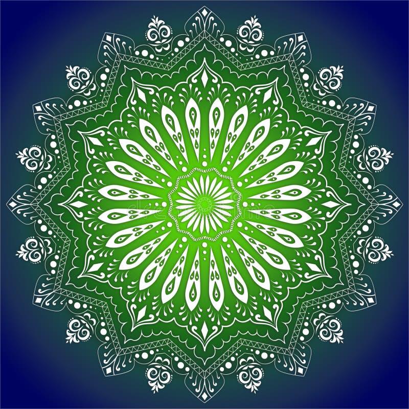 Mandala Illustration no fundo verde & azul do inclinação ilustração stock