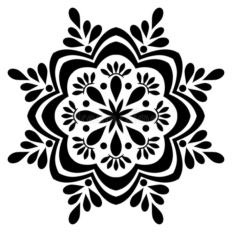 Black and white mandala vector isolated on white.Oriental, swirl. Mandala Illustration. Round Ornament Pattern Floral ornament for coloring book, tattoo vector illustration