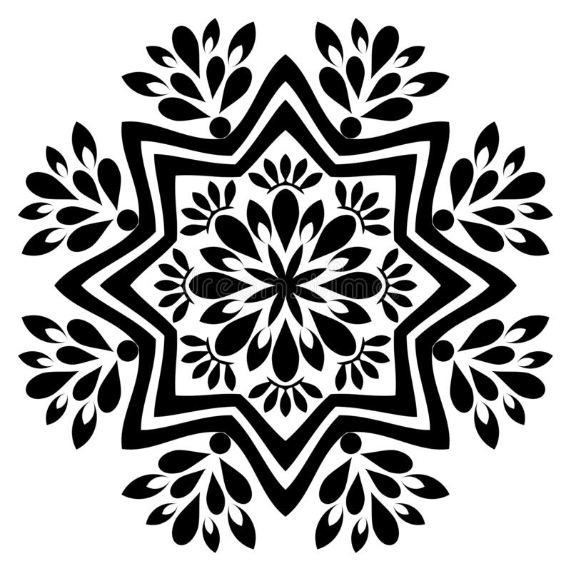 Black and white mandala vector isolated on white.Oriental, swirl. Mandala Illustration. Round Ornament Pattern Floral ornament for coloring book, tattoo stock illustration