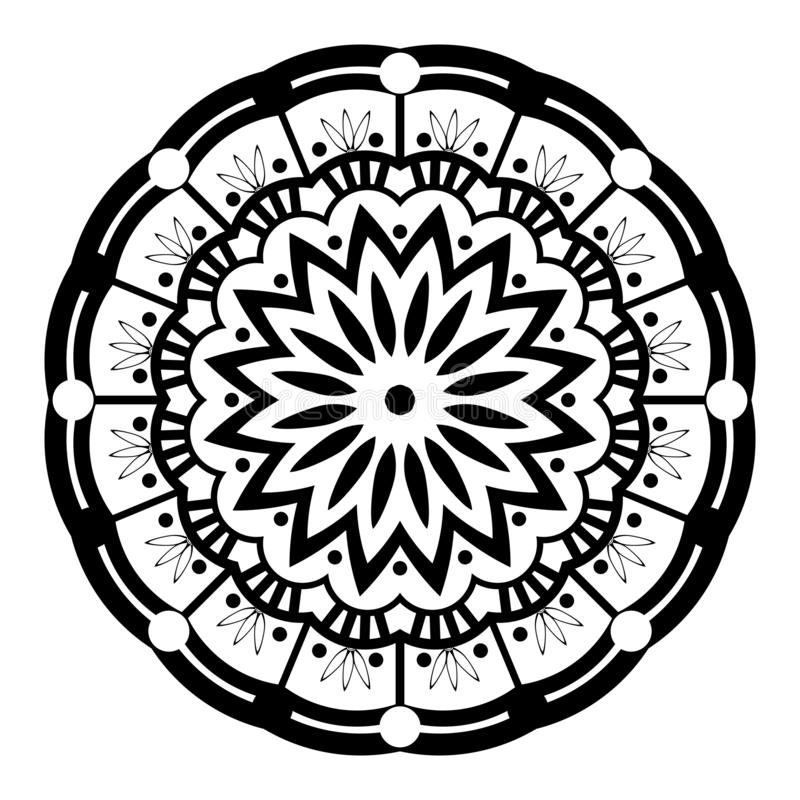 Mandala Illustration Vector blanco y negro ilustración del vector