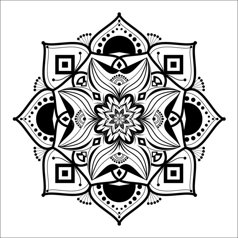 Mandala Illustration Vector Design floreale in bianco e nero illustrazione vettoriale