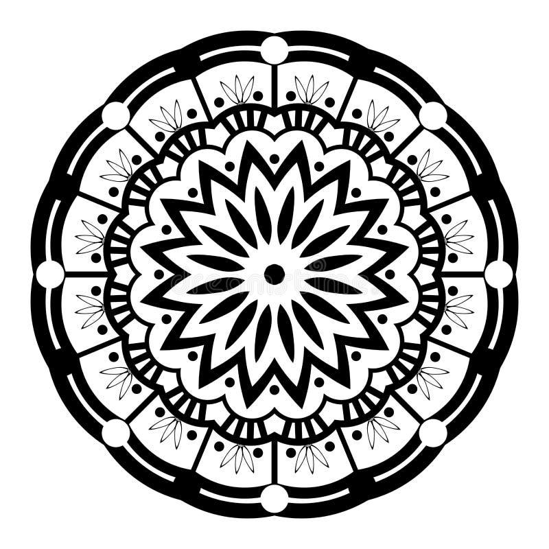Mandala Illustration Vector noire et blanche illustration de vecteur