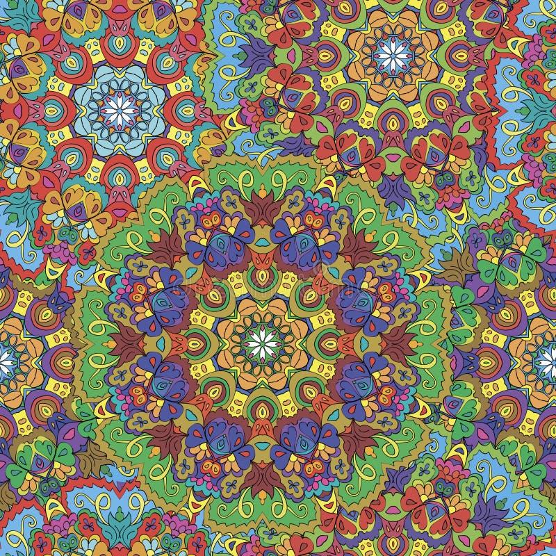 Mandala inconsútil colorida del modelo stock de ilustración