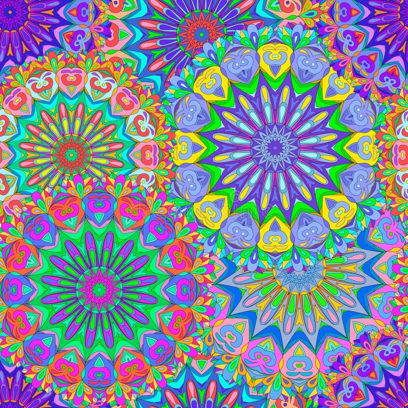 Mandala inconsútil colorida del modelo ilustración del vector