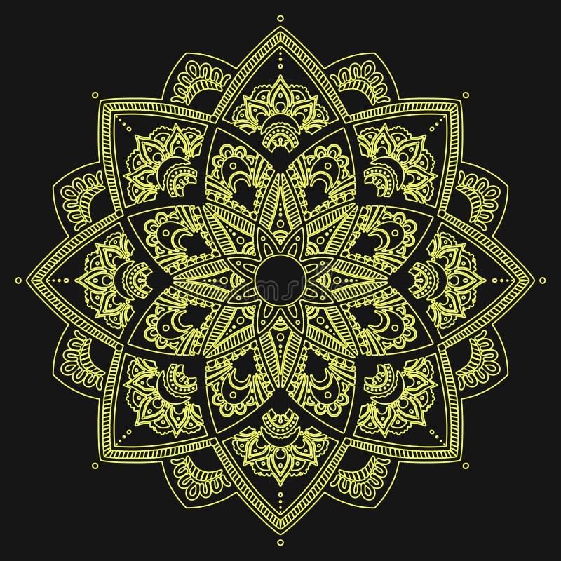 mandala Indiański antistress medalion Abstrakcjonistyczny islamski kwiat, arabski henna projekt, joga symbol royalty ilustracja