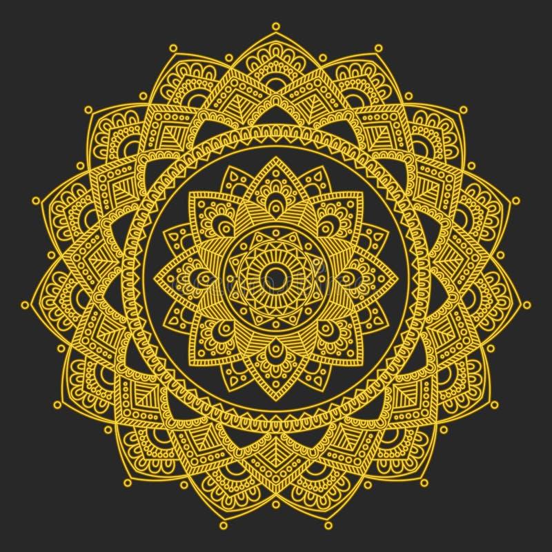mandala Indisk antistress medaljong Abstrakt islamisk blomma, arabisk hennadesign, yogasymbol stock illustrationer