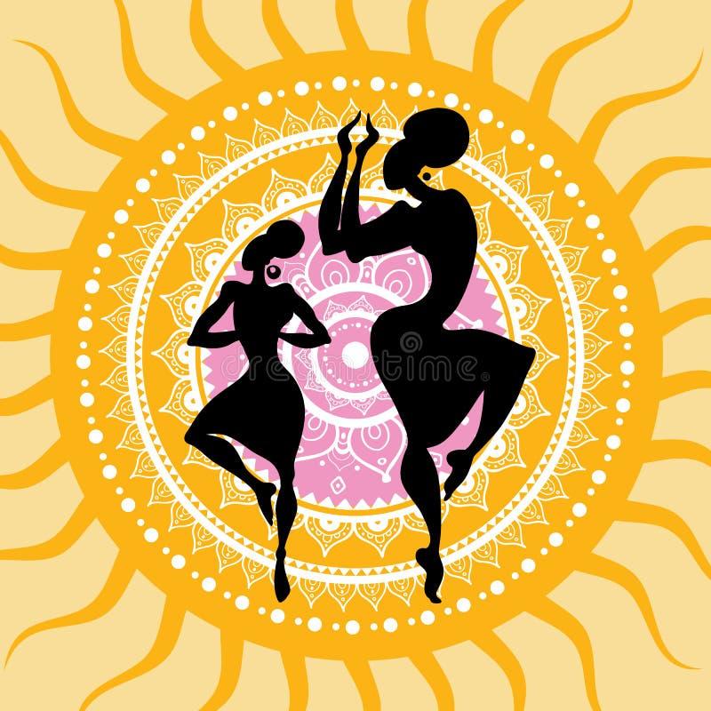 mandala Indiska dansarekonturer vektor illustrationer