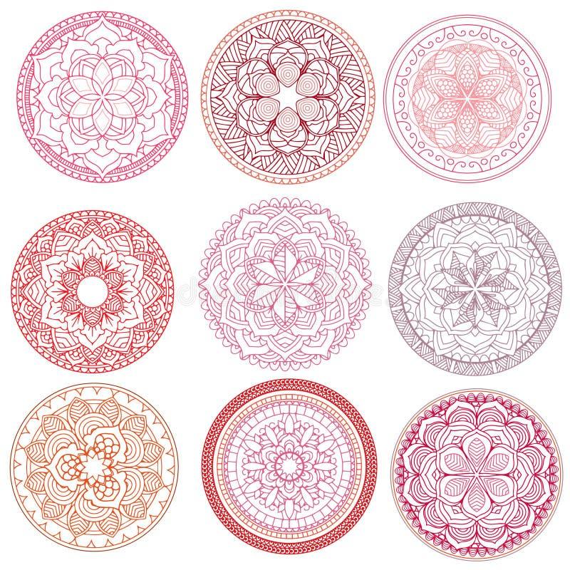mandala Inställda blom- mandalas för färgläggningdiagram för bok färgrik illustration översikt modell Vävdesignbeståndsdel royaltyfri illustrationer