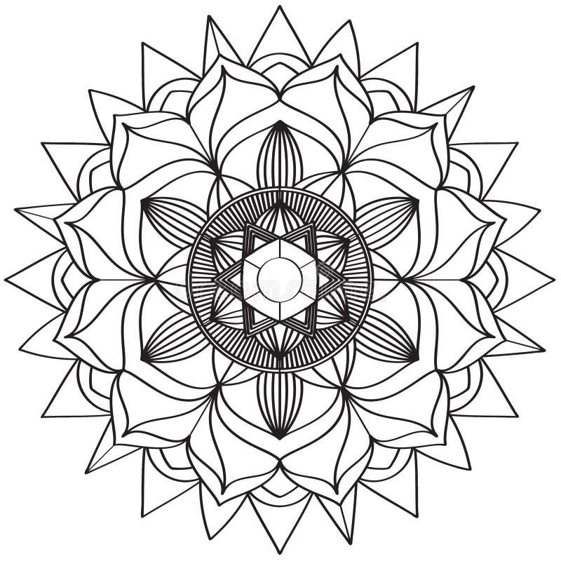 Mandala Intricate Patterns Black e buon umore bianco illustrazione di stock