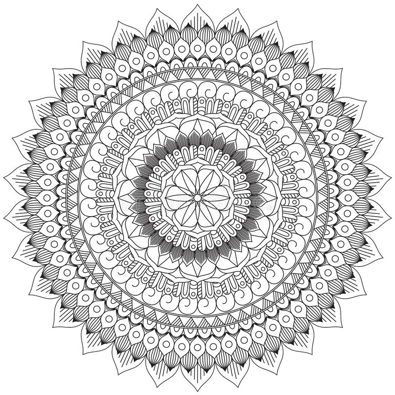 Mandala Intricate Patterns Black e buon umore bianco royalty illustrazione gratis