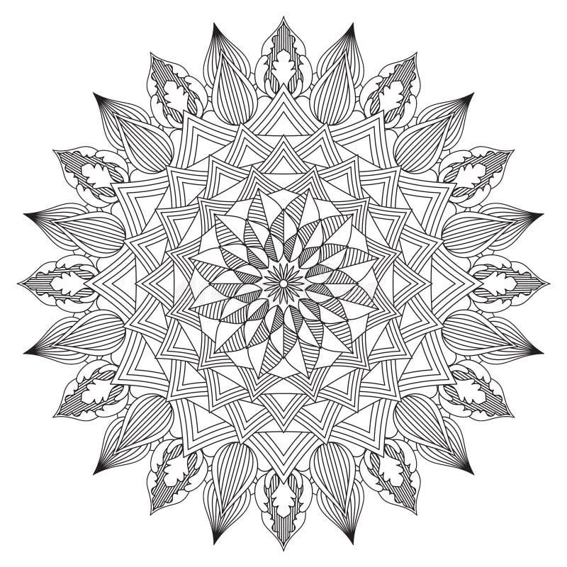 Mandala Intricate Patterns Black en Wit stock illustratie