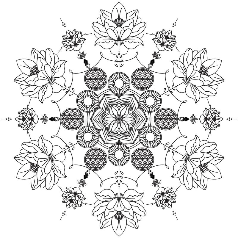 Mandala Intricate Patterns Black och vitt bra lynne vektor illustrationer