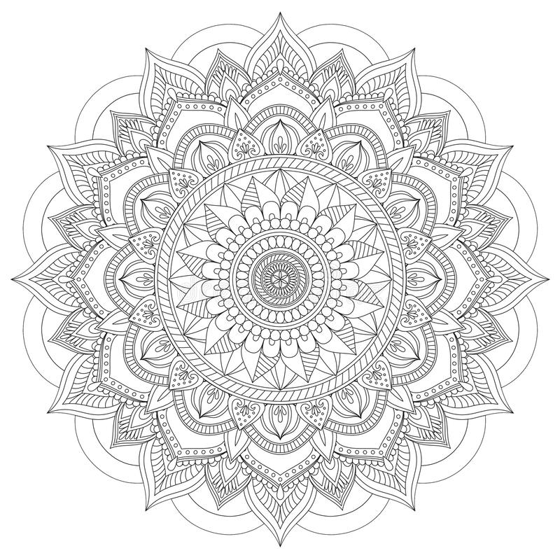 Mandala Intricate Patterns Black och vitt bra lynne royaltyfri illustrationer