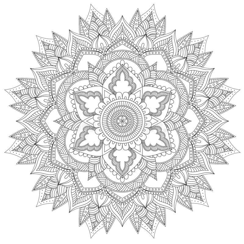 Mandala Intricate Patterns Black och vitt bra lynne stock illustrationer