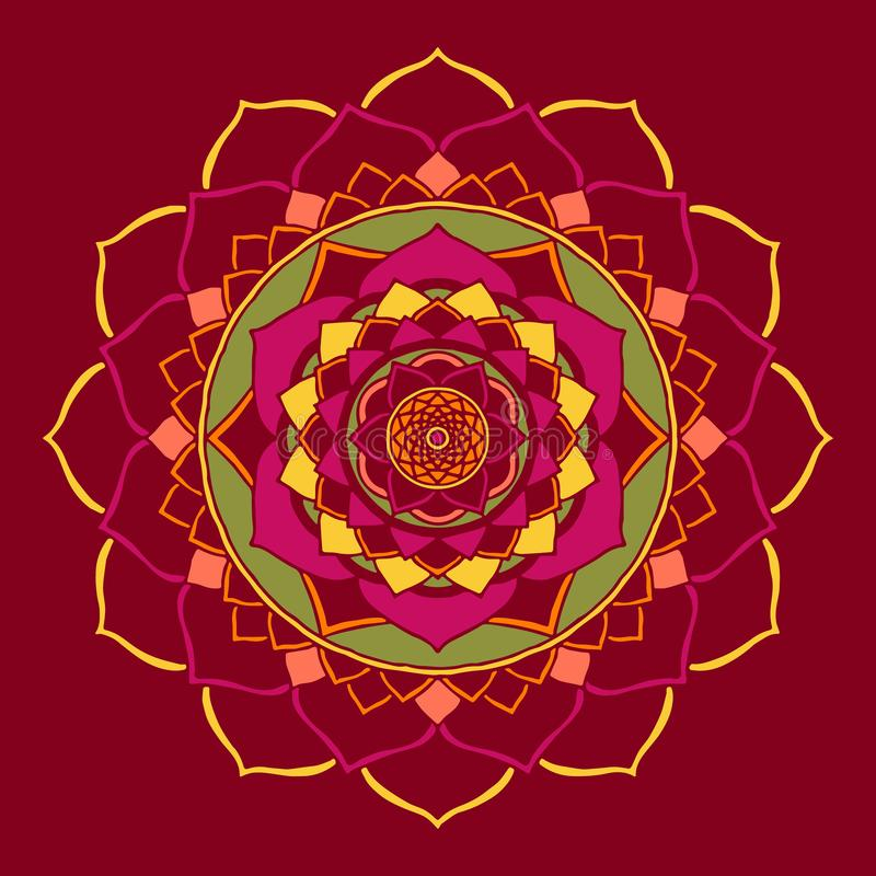 Mandala Jester Red Oriental Ornament stock de ilustración