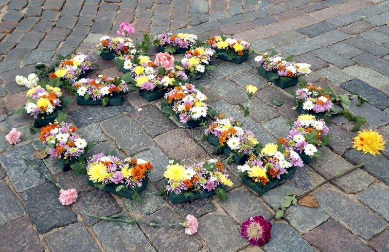 Mandala of John Lennon 75th Anniversary Riga Festival. Mandala pacific of John Lennon 75th Anniversary Riga Festival on Dome square Riga Latvia royalty free stock photos