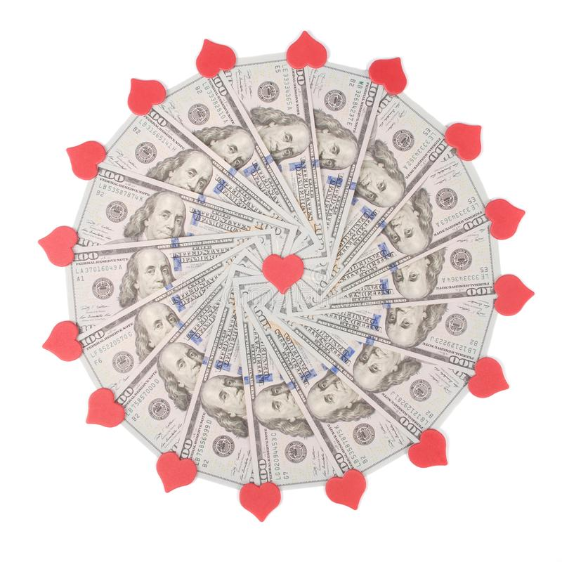 Mandala kalejdoskop od pieniądze i serca symbolu Abstrakcjonistyczny pieniądze tła raster wzoru powtórki mandala okrąg zdjęcia stock