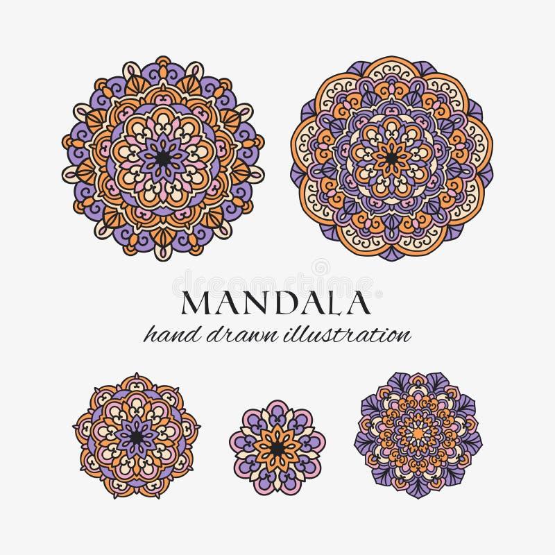 Mandala kleurde oosterse ronde bloemenornamenten Kleurrijke vectorhand getrokken decoratie vector illustratie