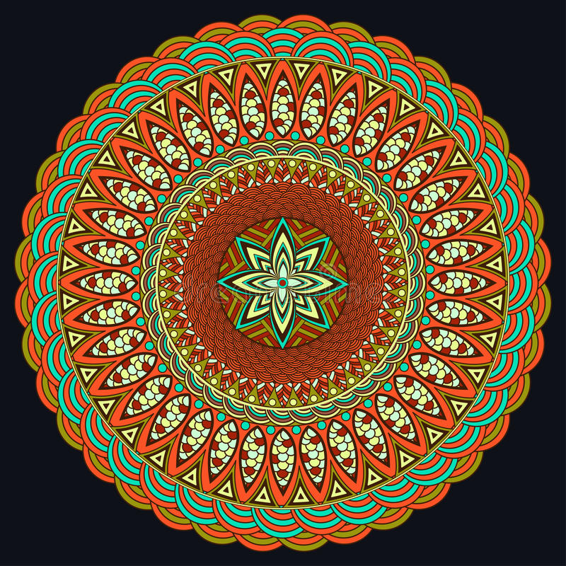 Mandala kolorowy Boho styl, hipisa jewellery Round ornamentu wzór elementu dekoracyjny rocznik Orientała wzór, język arabski ilustracji