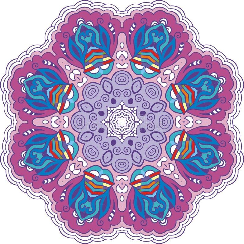Mandala koloru okrąg Rocznika wystroju Paisley elementy Ręka rysujący ezoteryczny loga wzór, symbol puryfikaci medytacja, szyldow royalty ilustracja