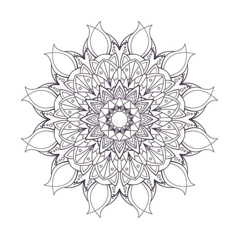 Mandala kontur z lisa projektem royalty ilustracja