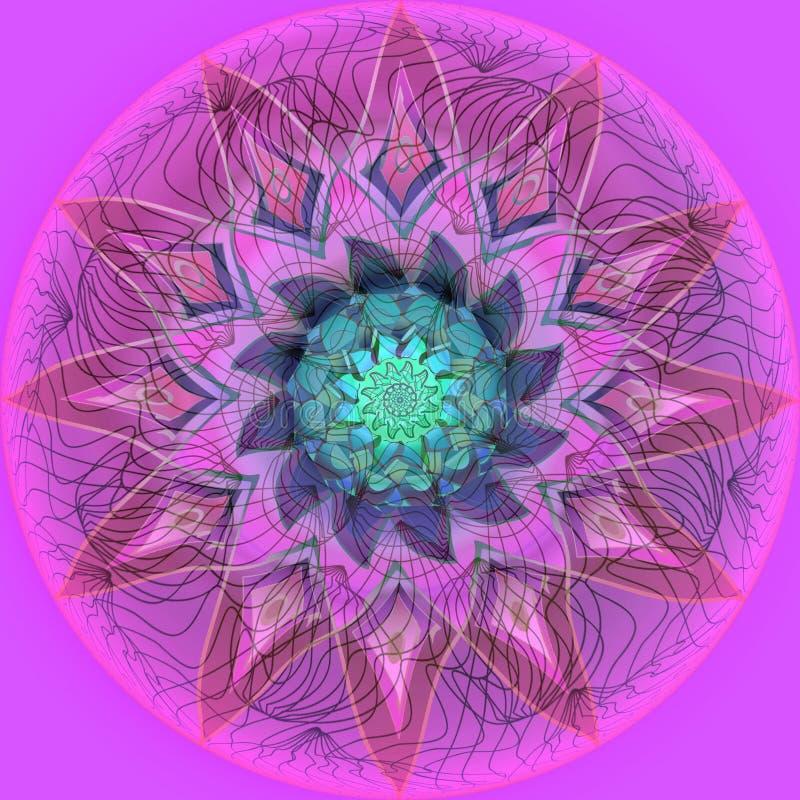 Mandala kwiat PROSTY PURPUROWY tło LINIOWY ŚRODKOWY okrąg W purpurach, menchiach I BURGUNDY, KWIAT W menchiach, purpury, TUQUOISE ilustracji